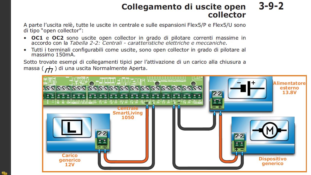 Schema Collegamento Open Collector : Terminali usati come uscite in un sistema antifurto inim