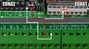 Collegamento in zona doppia di due sensori su un unico terminale della centrale allarme INIM