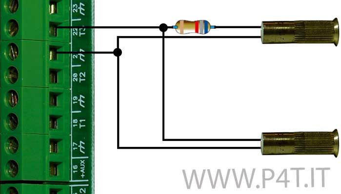 schema di collegamento a doppio contatto magnetico antimanomissione
